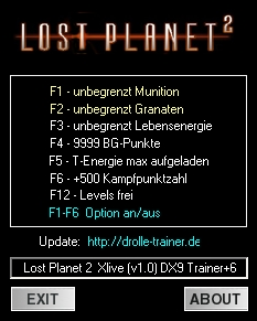 Lost Planet 2: Trainer (+6) [1.0 - DX9] {drolle}