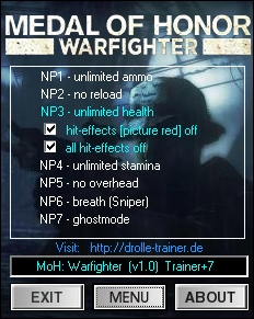 Medal of Honor - Warfighter: Trainer (+7) [1.0] {dR.oLLe}