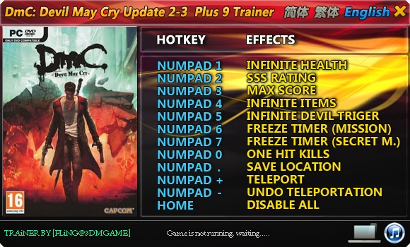 DmC - Devil May Cry: Trainer (+9) [Update 2 ~ 3] {FLiNG}