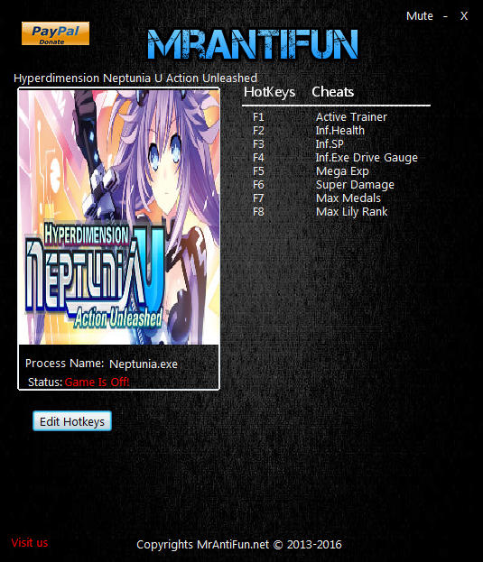 Hyperdimension Neptunia U: Action Unleashed: Trainer (+7) [Update: 01.07.2016] {MrAntiFun}