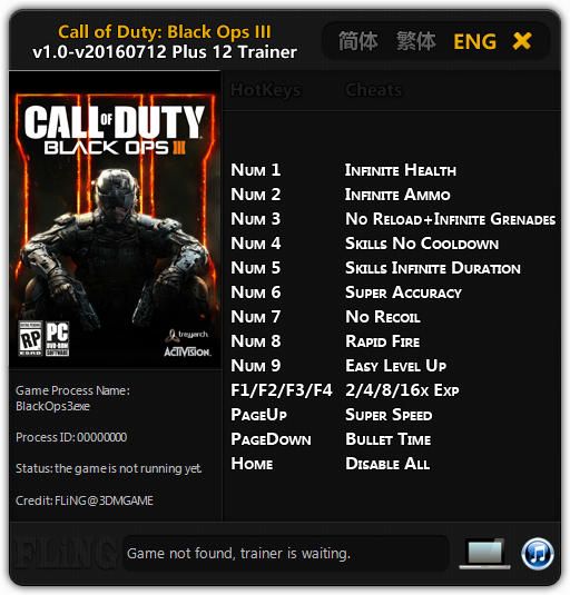 Call of Duty: Black Ops 3: Trainer (+12) [1.0 - UPD: 12.07.2016] {FLiNG}