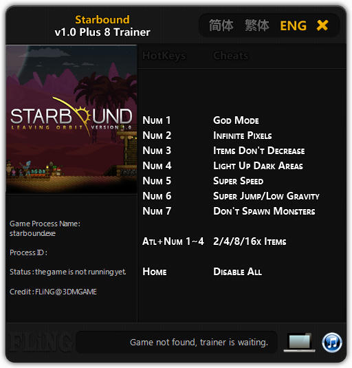 Starbound: Trainer (+8) [1.0: 64 Bit] {FLiNG}