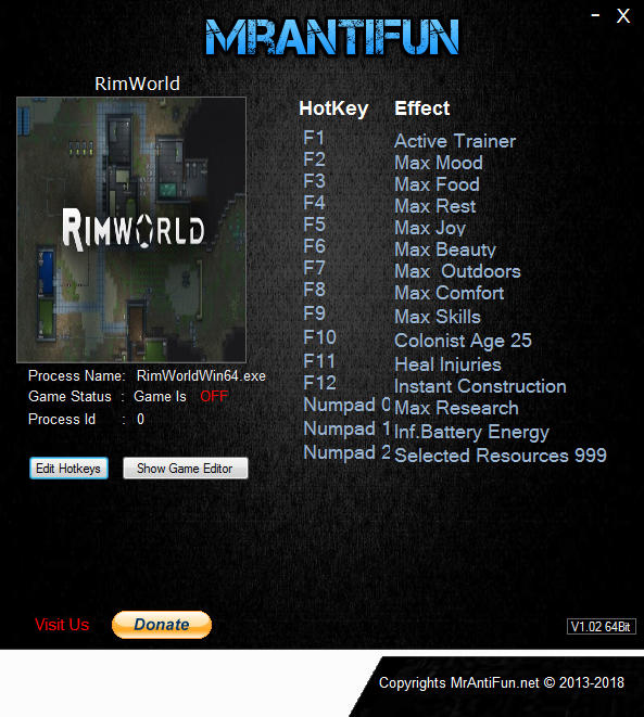 RimWorld: Trainer (+13) [0.14.1238] {MrAntiFun}