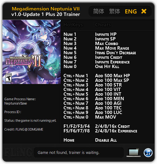 Megadimension Neptunia 7: Trainer +20 v1.0 - Update 1 {FLiNG}
