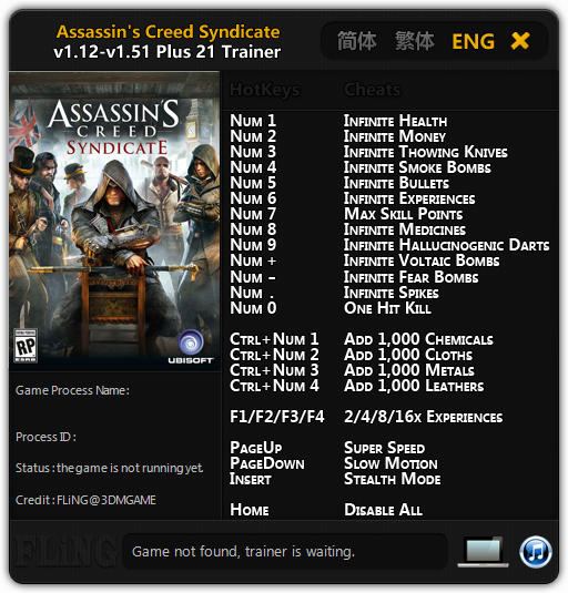 Assassin's Creed: Syndicate: Trainer (+21) [1.12 - 1.51] {FLiNG}