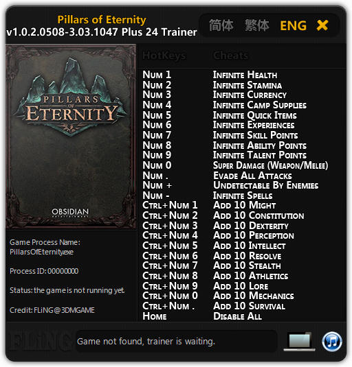 Pillars of Eternity: Trainer (+24) [1.0.2.0508-v3.03.1047] {FLiNG}