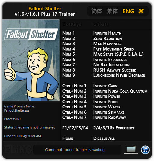 Fallout Shelter: Trainer +17 v1.6 - 1.6.1 {FLiNG}