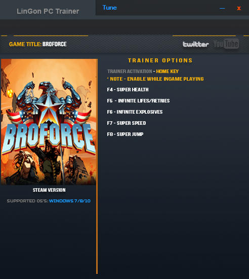 BroForce: Trainer (+5) [Update July 2016] {LinGon}