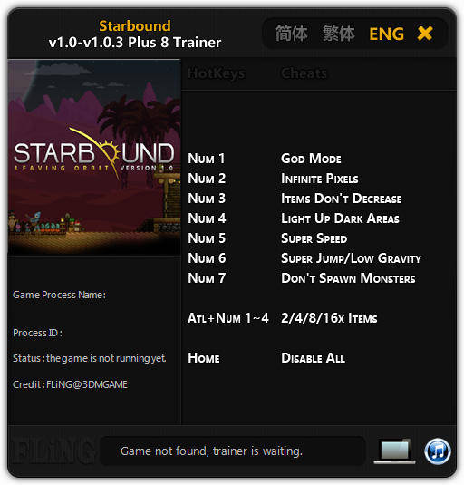 Starbound: Trainer (+8) [1.0 - 1.0.3: 64 Bit] {FLiNG}