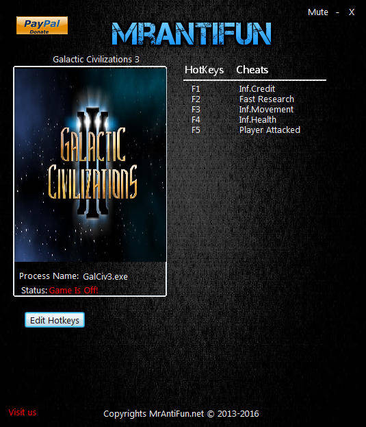 Galactic Civilizations 3: Trainer (+4) [1.81] {MrAntiFun}
