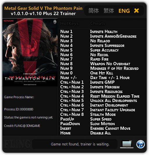 Metal Gear Solid 5: The Phantom Pain: Trainer (+22) [1.0.1.0 - 1.10] {FLiNG}