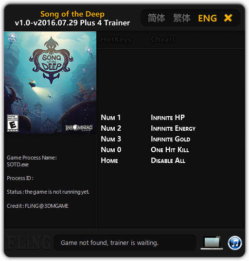 Song of the Deep: Trainer +4 v1.0 - 2016.07.29 {FLiNG}