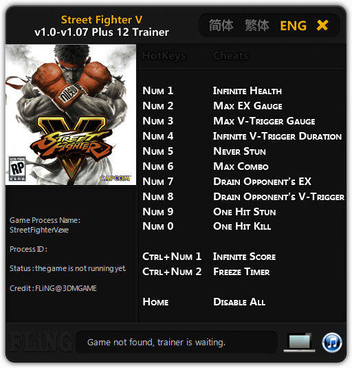 Street Fighter 5: Trainer +12 v1.0 - 1.07 {FLiNG}