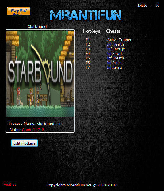 Starbound: Trainer (+6) [1.05: 64 Bit] {MrAntiFun}