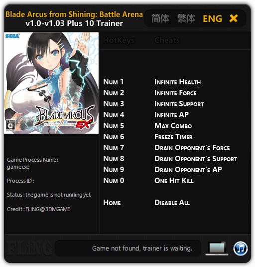 Blade Arcus from Shining: Battle Arena - Trainer +10 v1.0 - 1.03 {FLiNG}