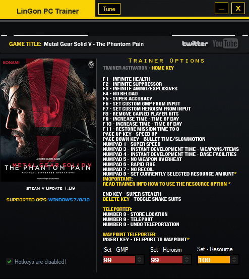 Metal Gear Solid V: The Phantom Pain: Trainer (+26) [1.10] {LinGon}