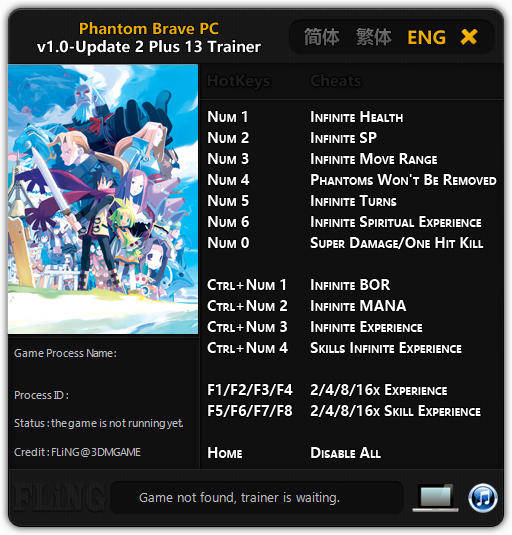 Phantom Brave PC: Trainer +13 v1.0 - Update 2 {FLiNG}
