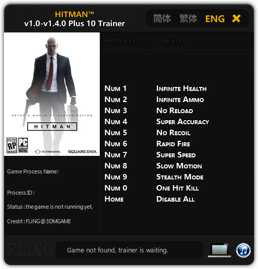 Hitman 6: Trainer (+10) [1.0 - 1.4.0] {FLiNG}