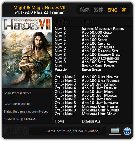 Might and Magic: Heroes 7: Trainer (+22) [1.1 - 1.2.0: 64 Bit] {FLiNG}