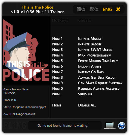 This Is the Police: Trainer +11 v1.0 - 1.0.36 {FLiNG}