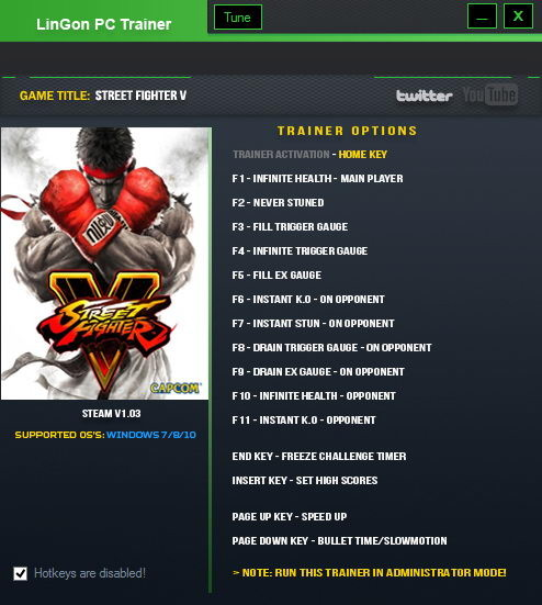 Street Fighter 5: Trainer (+15) [1.07] {LinGon}