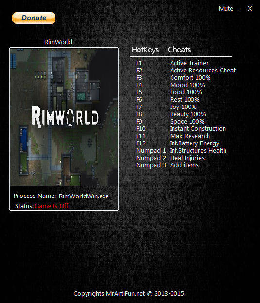 RimWorld: Trainer (+13) [0.15.1276] {MrAntiFun}