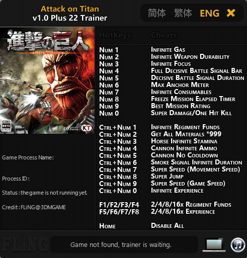 Attack on Titan: Trainer (+22) [1.0] {FLiNG}