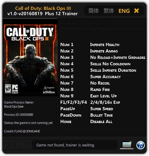 Call of Duty: Black Ops 3: Trainer (+12) [1.0 - UPD: 19.08.2016] {FLiNG}