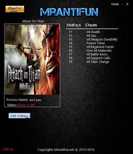 Attack On Titan: Trainer +9 V1.00 {MrAntiFun}