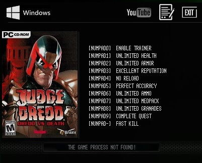 Judge Dredd: Dredd vs Death: Trainer (+10) [v.2.0.0.11 GOG] {LIRW / GHL}