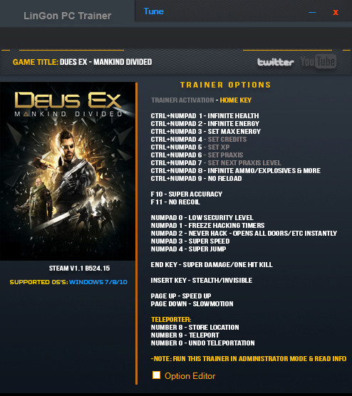 Deus Ex: Mankind Divided - Trainer +20 v1.1 Build 524.15 {LinGon}