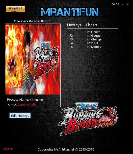 One Piece Burning Blood: Trainer +5 V1.06 {MrAntiFun}