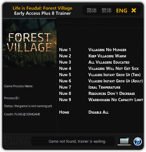 Life is Feudal: Forest Village - Trainer +8 Early Access Updated 2016.09.07 {FLiNG}