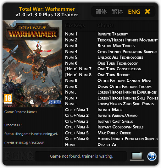 Total War: Warhammer - Trainer +18 v1.3.0 {FLiNG}