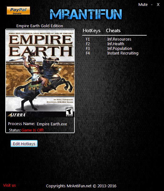 Empire Earth Gold Edition: Trainer (+4) [2.00] {MrAntiFun}