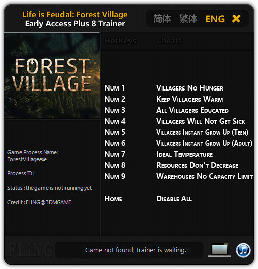 Life is Feudal: Forest Village - Trainer +8 Early Access Updated 2016.09.01 {FLiNG}