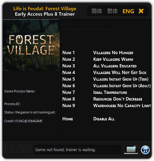 Life is Feudal: Forest Village - Trainer +8 Early Access Updated 2016.09.14 {FLiNG}