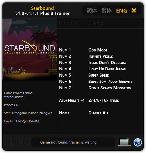 Starbound: Trainer (+8) [1.0 - 1.1.1: 64 Bit] {FLiNG}