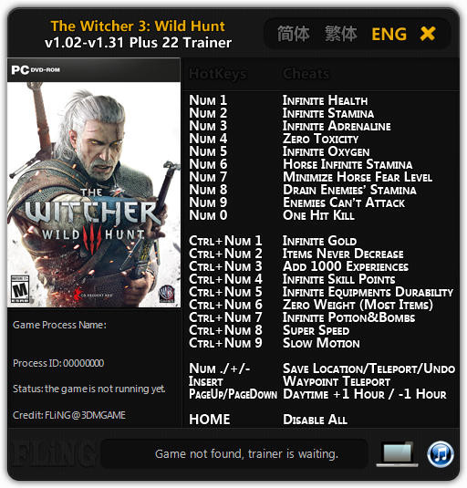 The Witcher 3: Wild Hunt - GOTY Edition: Trainer (+22) [1.02 - 1.31] {FLiNG}