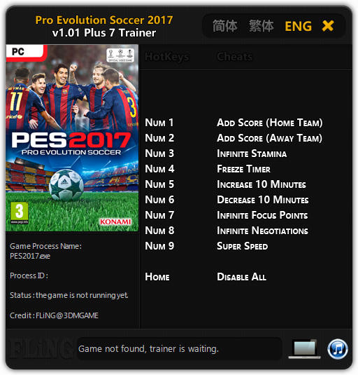 Pro Evolution Soccer 2017 - Trainer +7 v1.01 {FLiNG}
