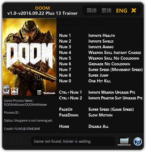 Doom 4: Trainer (+13) [1.0 - Update: 22.09.2016] {FLiNG}