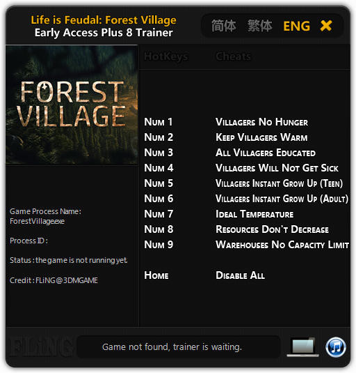 Life is Feudal: Forest Village - Trainer +8 Early Access Updated 2016.09.23 {FLiNG}