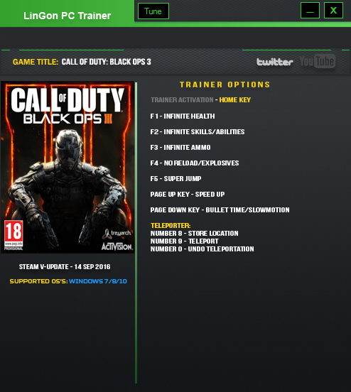 Call of Duty: Black Ops 3: Trainer (+9) [Update 14 Sep] {LinGon}