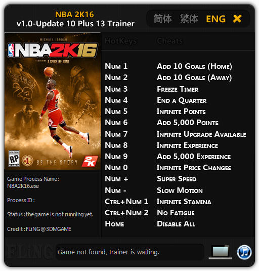 NBA 2K16: Trainer +13 v1.0 Update 10 {FLiNG}