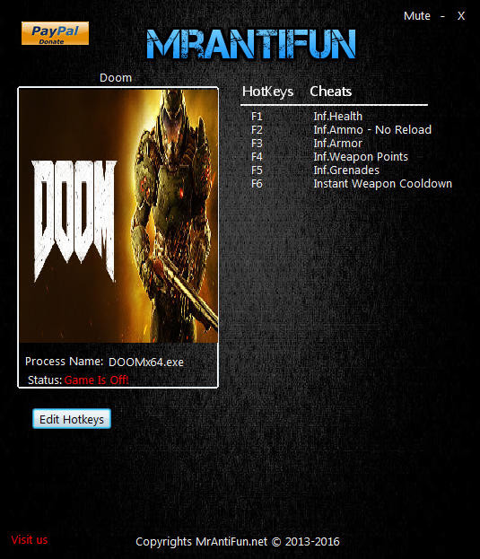 Doom 4 - Vulkan: Trainer (+8) [Update 09.23.2016] {MrAntiFun}