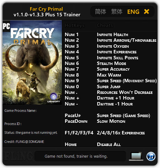 Far Cry: Primal - Trainer (+15) [1.1.0 - 1.3.3: Update 28.09.2016] {FLiNG}