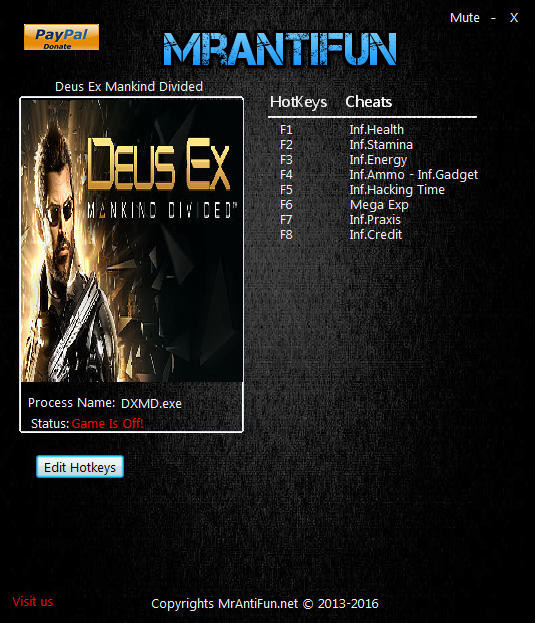 Deus Ex: Mankind Divided - Trainer (+9) [1.8 Build 565.4] {MrAntiFun}