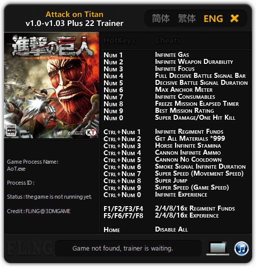 Attack on Titan (2016) - Trainer +22 v1.0 - 1.03 {FLiNG}