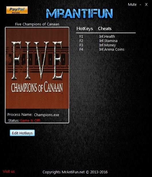 Five Champions of Canaan: Trainer +4 V1.0.2.879 {MrAntiFun}