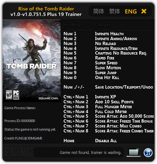 Rise of the Tomb Raider: Trainer (+19) [1.0 - 1.0.751.5] {FLiNG}